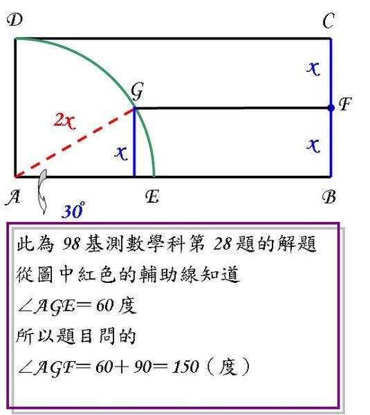 98基測Q28 四分之一圓與中點.JPG