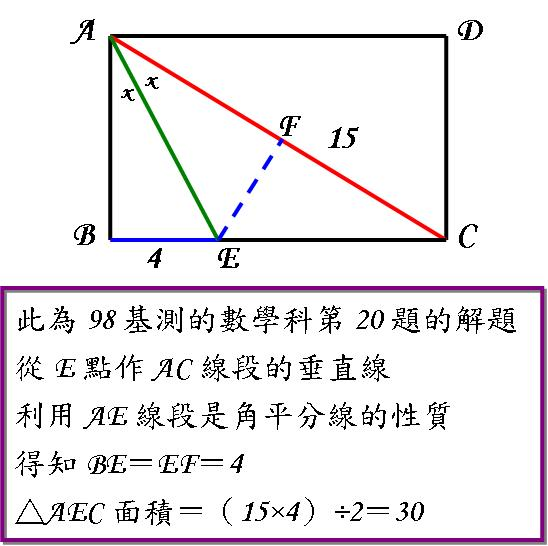 98基測Q20 角平分線的性質運用.JPG