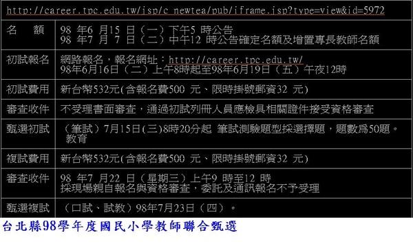 台北縣98學年度國民小學教師聯合甄選.JPG