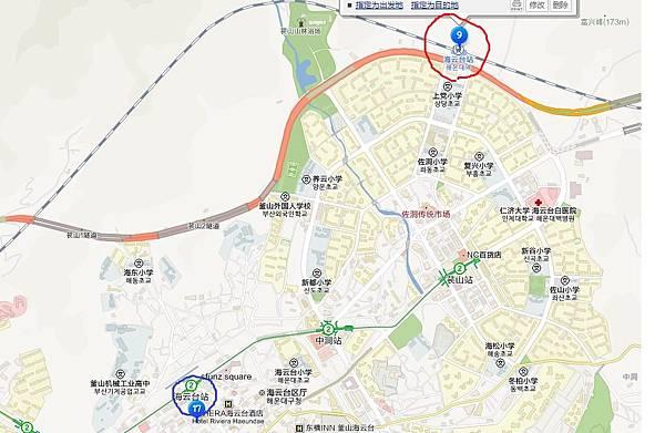 海雲台火車站的地圖