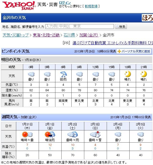 金沢市の天気