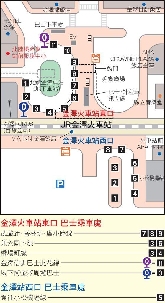 金澤車站巴士路線圖