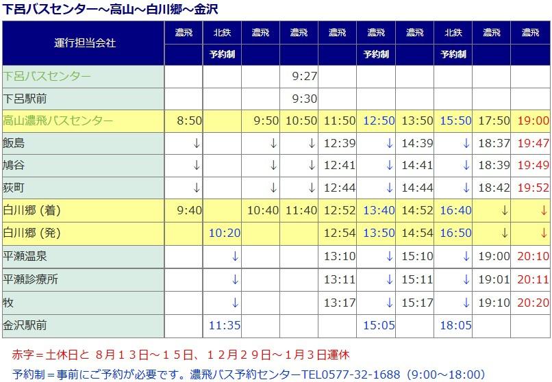 白川鄉→金澤線行車時刻表