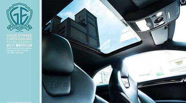 Audi S5車室配備有面積超大的全景式天窗,讓室內擁有更好的採光。