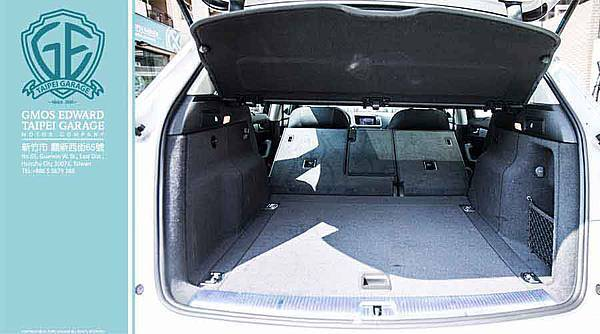 奧迪Q5休旅車的標準行李廂容量為540公升,若將後座椅背往前傾倒則可獲得1,560公升的平坦載物空間。