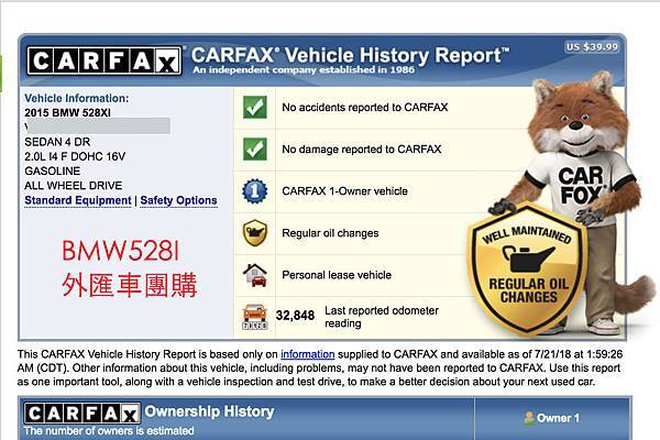 GE台北車庫團購代辦外匯車會附上AutoCheck報告和Carfax報告 !  美國買車車況品質90%可以依這兩份報告AutoCheck & Carfax來評估 , 剩下的10%就是要在美國看實車了  GE台北車庫在美國洛杉磯LA設有辦公室 , 也有專業的技師來幫您評估您車子的最後車況喔。  如果AutoCheck & Carfax上面沒有出現事故報告,但經過我們美國LA的專業技師現場看過實車後 , 確定有初險紀錄,那我們就可以實施退車的動作  (美國購買該車子起算三天都可以實施退車的動作,有重大事故才會實行退車動作,車體刮傷那些不算喔,因為您代購的是二手車車體刮傷是難免的喔!)