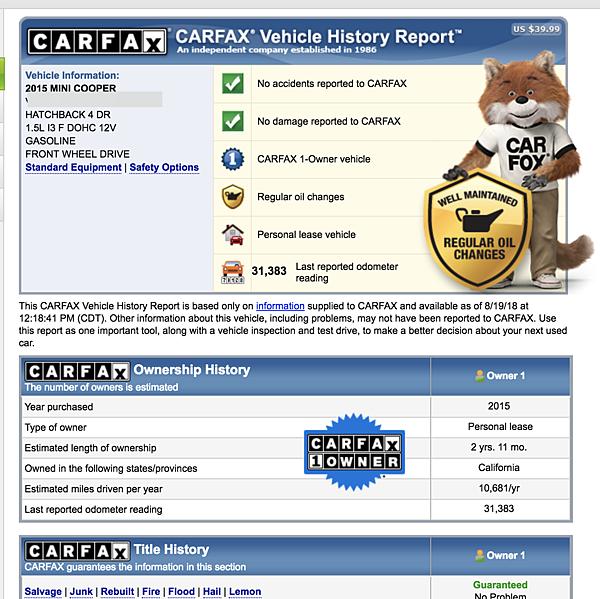 所有外匯車在美國代購進口前,一定要查詢Carfax及Autocheck檢查報告, 確定車輛有沒有事故紀錄?  有沒有Lemon Car?里程數準不準? 讓客戶對車況有充分透明瞭解。  上圖是彰化黃兄這台2015Mini Cooper的Carfax檢查報告