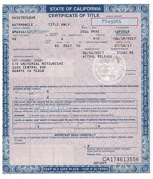 mini團購代辦上圖是2016年Mini Cooper美國車主證明文件(簡稱車主證),相當於台灣行車執照,要有這份文件才能在美國出口  台灣進口報關及 ARTC 驗車中心檢驗, 這是外匯車進口流程中最重要文件。