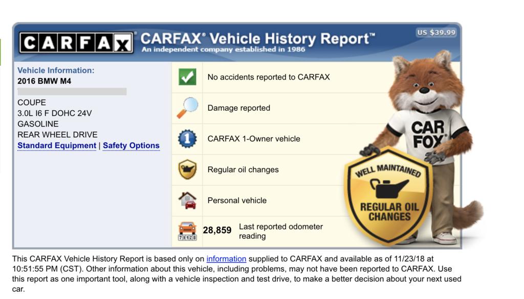 BMW M4美國代辦進口BMW M4 外匯車Carfax檢查報告