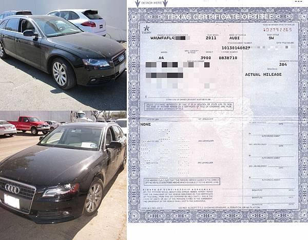 AUDI A4 Avant黃先生美國車主證明文件,美國運車回台灣進口關稅多少錢?