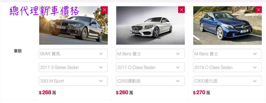 2017年總代理賓士C250、BMW 330i及2019年賓士C300全新車價格