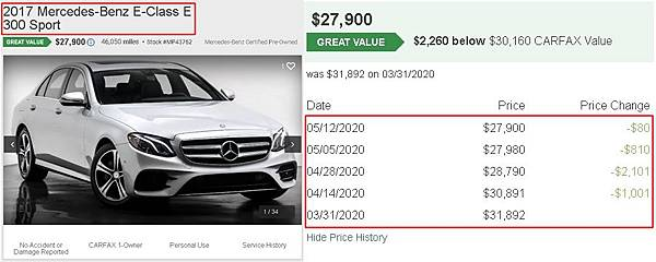 這台是最近美國中古車網站找到的2017 賓士GLC300,可以看到網站上顯示二個月降價了5993塊美元,相當於18萬台幣左右
