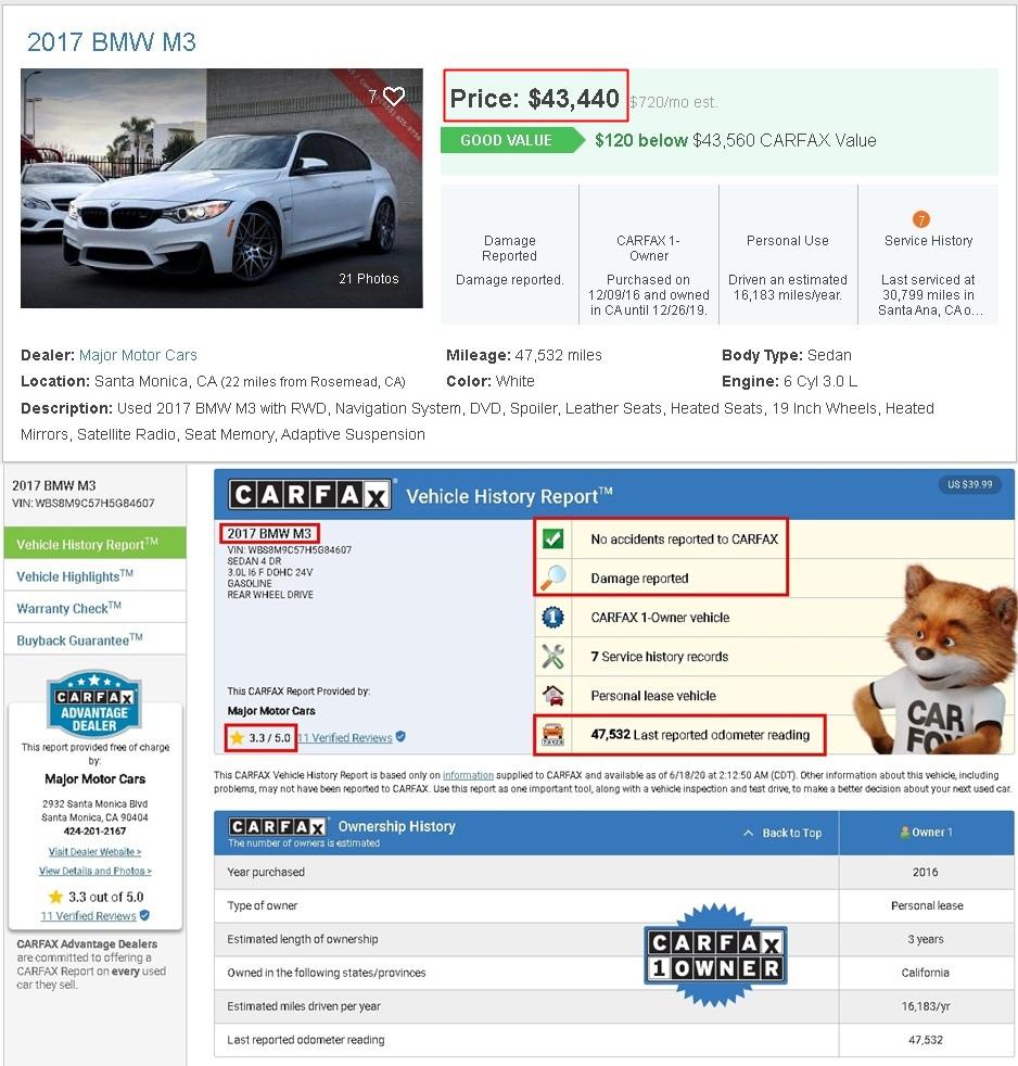 下面是從美國的二手車網站查到的2017 BMW M3,里程數為47.532英里,換算成公里大概7萬6公里左右,從Carfax上可以看出沒有事故紀錄,但是有損壞紀錄,carfax評分為3.3顆星,算是一般的分數,這台是賣43.440美元,大概是130萬左右,如果這台車要從美國代購運回台灣需要多少錢呢?有一個非常粗略的算法,就是乘以2,所以大概要260萬左右,在代購外匯車中會經過什麼過程,以及會有產生什麼費用呢?詳情可以點選以下網址