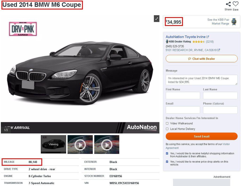 以下是在Autotrader.com找到的2014 BMW M6 Coupe 美國中古車,網站上可以設定各種尋車條件,不管是年份、里程、或是CPO原廠認證等,都可以輕鬆篩選您喜歡與不喜歡的條件,以外,有些還有提供Carfax或是AUTOCHECK的報告可以查看,像是這台2014 BMW M6,就有提供Carfax,可以看到報告中有顯示里程數、歷史的擁有者、評分、有沒有事故或是損傷等。