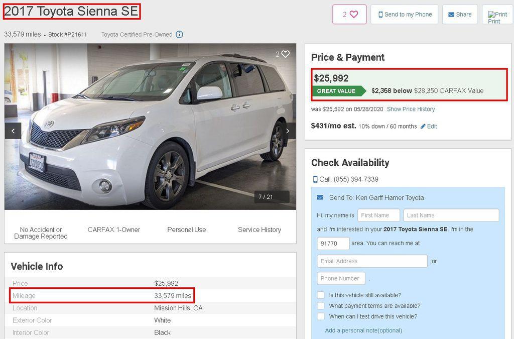 以下是從美國中古車網站找的一台2017Toyota Sienna SE,可以看到這台車的里程數是33.579英哩,換算成公里大概是5萬3公里左右,然後之後的Carfax中可以得知,這台車沒有發生過事故,也沒有損壞過,有cpo原廠認證,Carfax的評分星星數是4.4顆星,售價是在26000美金左右,換算成台幣大概是78萬,至於這台Toyota Sienna SE這台美國中古車外匯回來台灣需要多少錢?中途會經過哪些過程?需要花費多少錢間,可以點以下連結了解更多,或是加入line來詢問我們唷