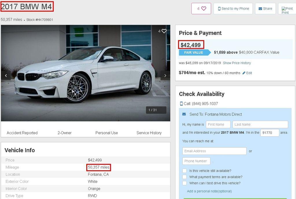 以下是從美國中古車網站找的一台2017 BMW M4,可以看到這一台里程數50.357英哩,大約是8萬公里左右,售價是43.500美元,大概是130萬台幣左右