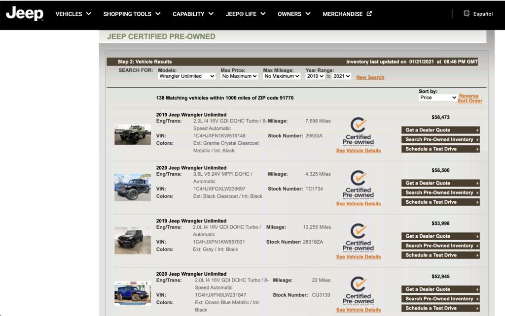 美國jeep 原廠認車源(cpo)搜尋網站就是其中可從全美國上千台 jeep車源挑選想要的車型,年份,配備,顏色  jeep 原廠認證車源,會通過上百項的車況檢測,以確保每輛車源都有符合 原廠認證車的標準