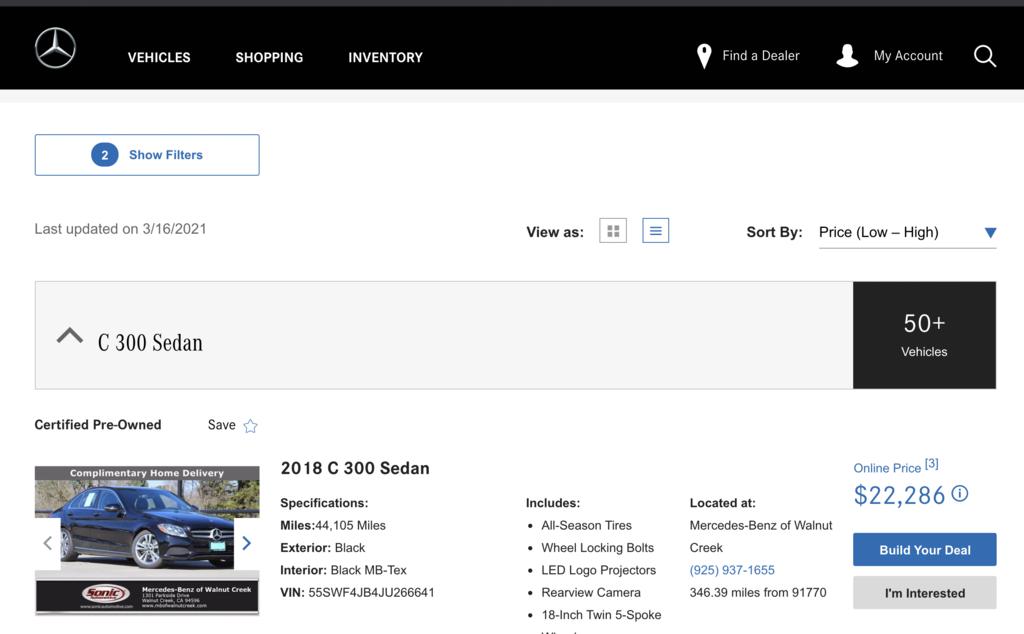 美國賓士原廠中古車網站,benz美國原廠認證車源經過165項車況檢查,cpo檢查通過的車源車況更有保障,車輛價格如何呢