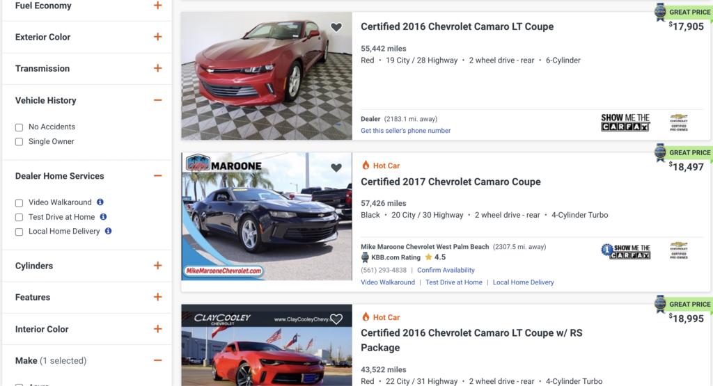 2021年5月1日在美國中古車網站autotrader.com, 搜尋出雪芙蘭 camaro 大黃蜂 原廠認證中古車(Certified Pre-Owned)  2016車型紅色ChevroletCamaro LT版,網站中最低價格來到美金17,905美金