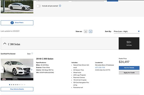 2021年6月7日,美國外匯車賓士C300原廠認證車源後輪傳動版RWD美金價格