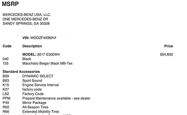 美國外匯車賓士e300 原廠認證中古車 選配價格,原廠選配表msrp