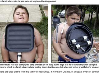 「克羅埃西亞 萬磁小胖」用肚皮吸住重達25公斤的炒菜鍋、啞鈴。