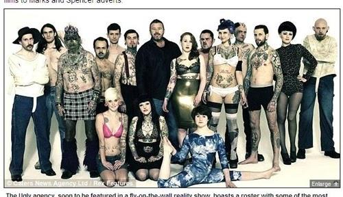 英國 醜人模特兒 公司 有男有女、有歹徒、異國女子,甚至連X檔案這種人都有