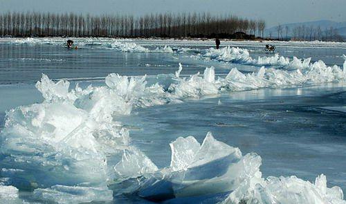 天津 冰凌奇觀 由於冰體有冷漲特性,形成了蜿蜒曲折的冰凌奇觀