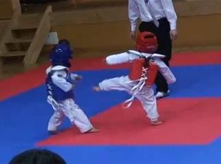 超古錐跆拳道 他們的動作就像是2個樂高小人在打架。