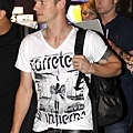 The Backstreet Boys are seen arriving at the Berlin Tegel Airport in Germany.