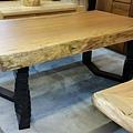 南洋木桌+旋轉鍛鐵烤漆桌腳