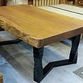 南洋檜木桌+旋轉鍛鐵烤漆桌腳