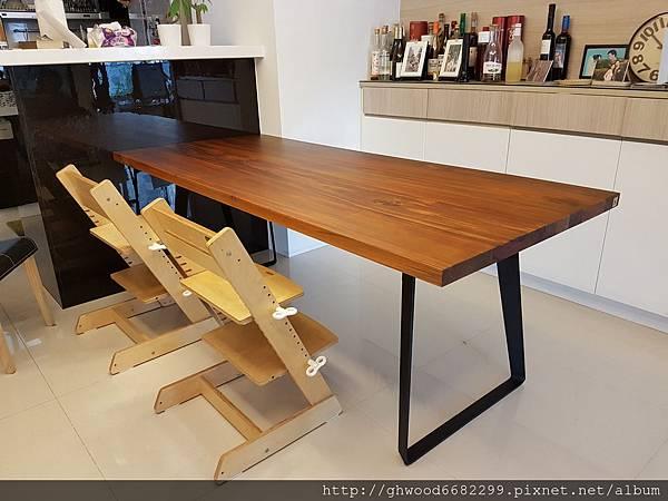 柚木直邊拼板桌