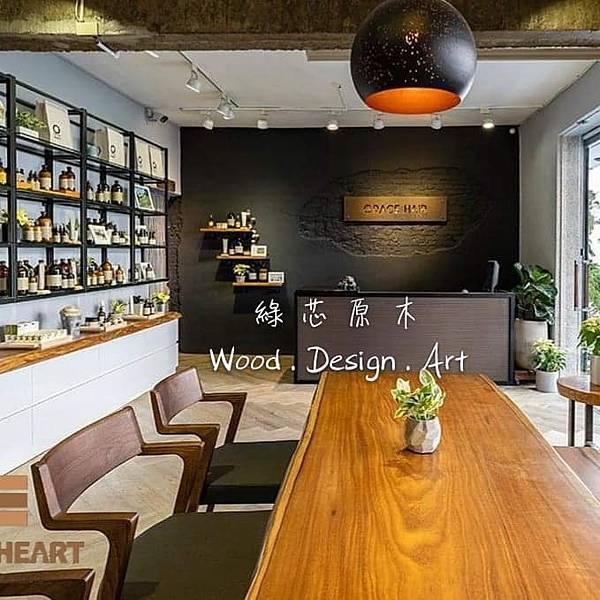 新竹髮廊原木桌椅原木展示板架1.jpg