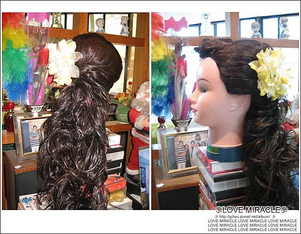 造型2-因為小G頭的髮量很少,所以GG幫她加上了假髮,噴上了噴彩,感覺還不錯,(小G頭,妳不用去愛德蘭絲了哩~~開不開心呀!!^D^~)