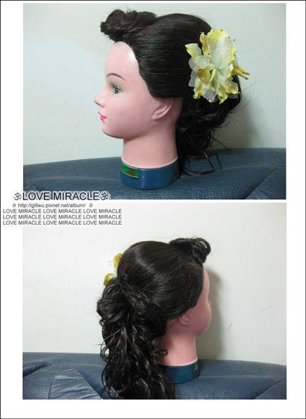 造型3-夏威夷風之變化,把後面的頭髮編到側邊。又是另一風格的造型。