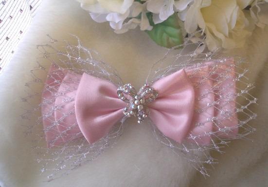 新娘秘書飾品。豆豆紗蝴蝶結。緞面純手工車製-粉紅.jpg