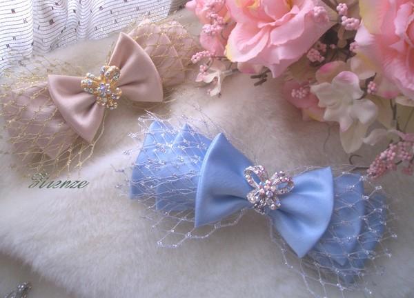 新娘秘書飾品。豆豆紗蝴蝶結。緞面純手工車製-藍.jpg