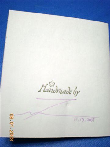 卡片背面簽名