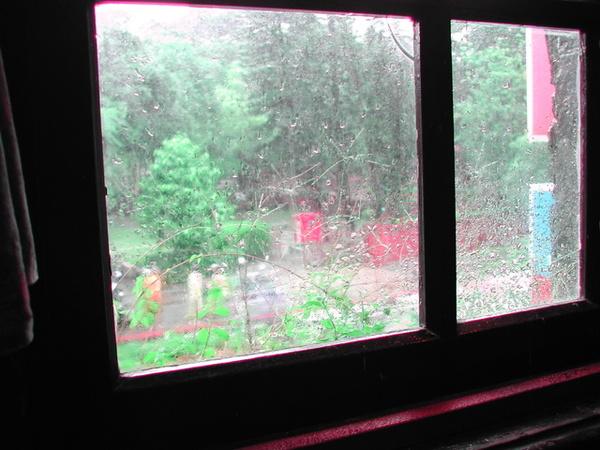 自窄門望向窗外