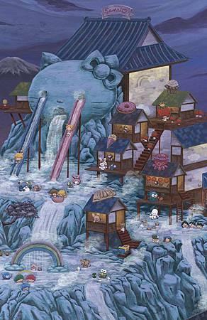 Sanrio's 50th Family Vacation.  Cel Vinyl on wood, 60 X 36, 2010. 02