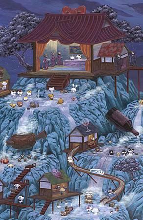 Sanrio's 50th Family Vacation.  Cel Vinyl on wood, 60 X 36, 2010. 03