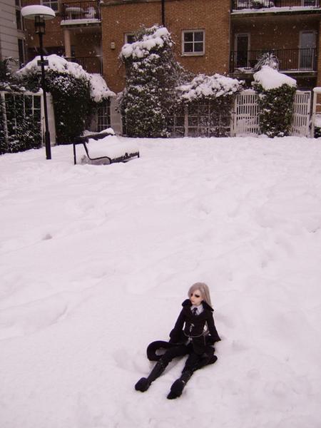 再來就是放到雪地上
