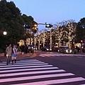 車站前的馬路也亮了...