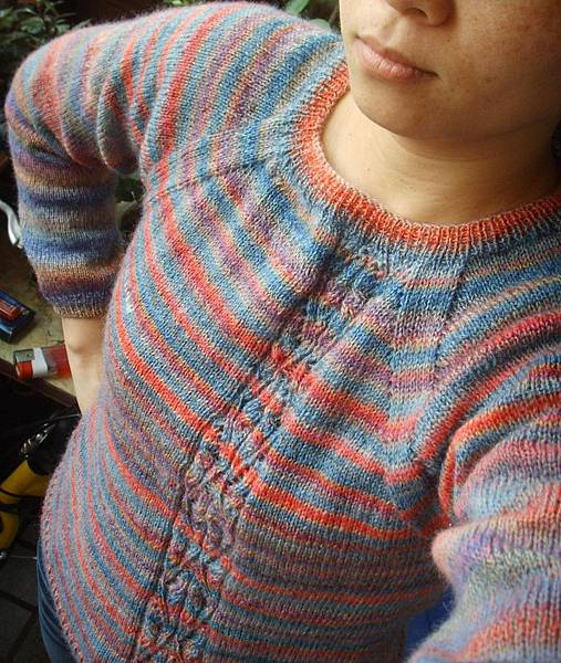 領口往下織-洗舊復古長袖毛衣