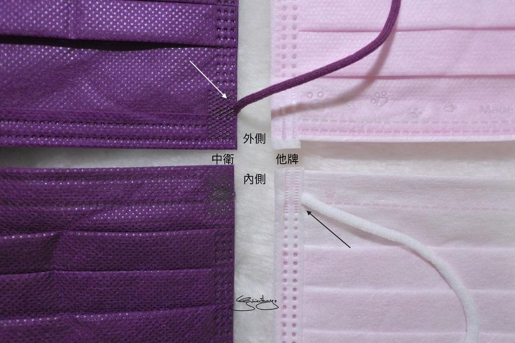 CSD中衛時尚口罩 炫霓紫 他牌比較