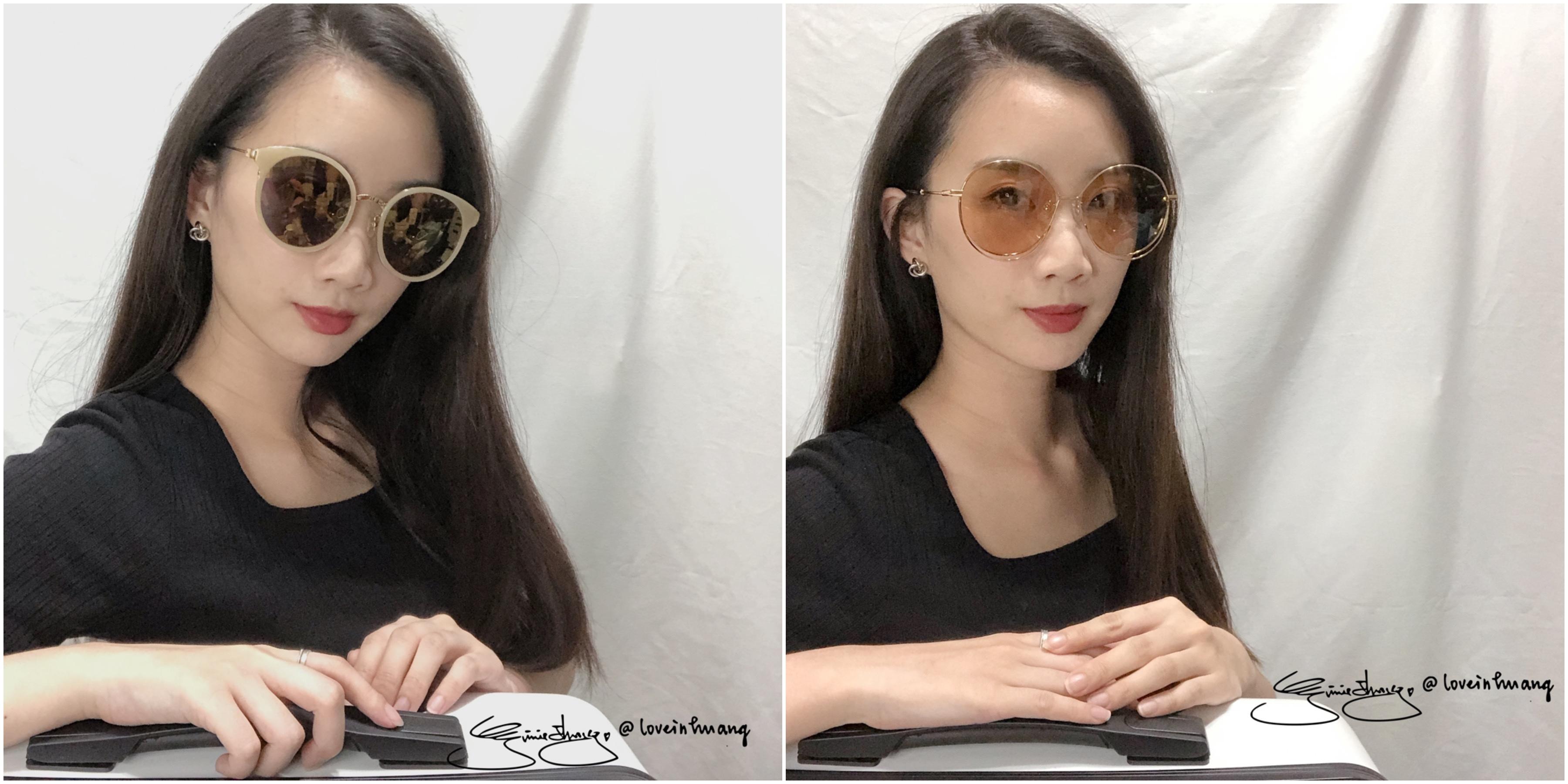 (右)清尚 金屬雙層墨鏡 P785 (金+茶)(左)Go-getter 水銀太陽眼鏡 GS1703 LAGM