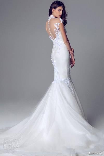 blumarine-bridal-2014-cap-sleeve-high-neck-mermaid-wedding-gown-illusion-neckline-train