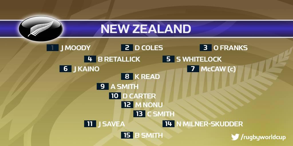 決賽紐西蘭先發名單