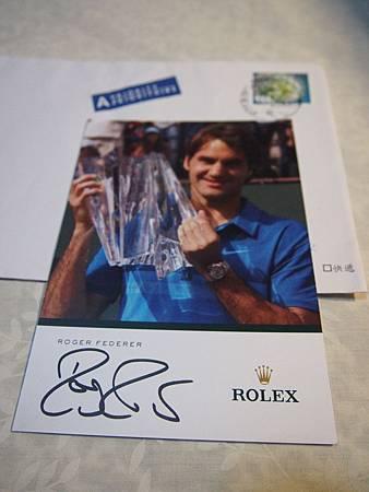Federer 簽名明信片